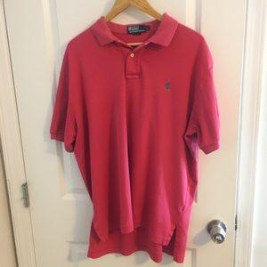 Pink/Salmon Ralph Lauren Collared Polo Shirt. Sz L